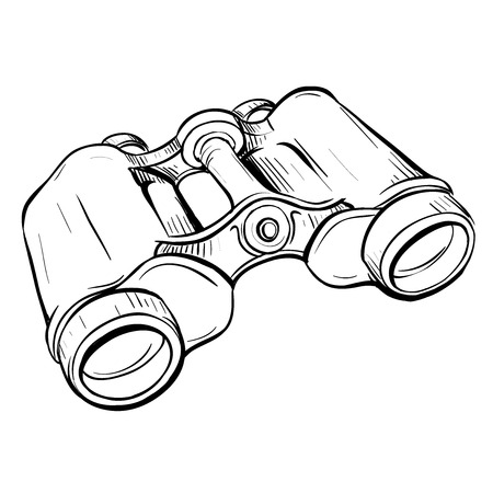 thumbnail: Vector illustration of retro military binoculars in the thumbnail style on a white background