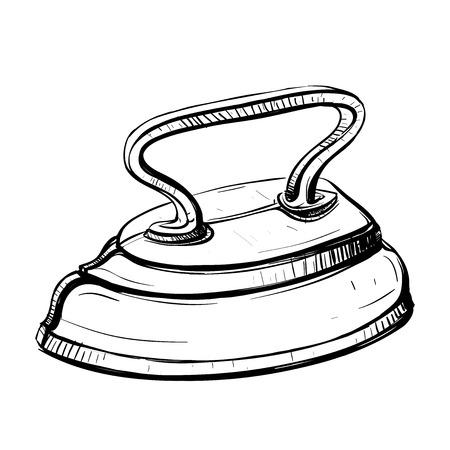 flatiron: Vector illustration of retro iron in the thumbnail style on a white background Illustration