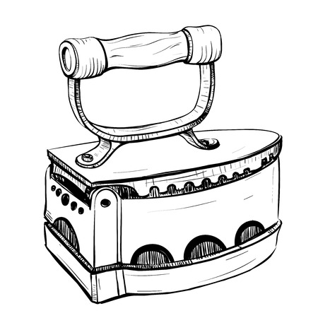thumbnail: Vector illustration of retro iron in the thumbnail style on a white background Illustration