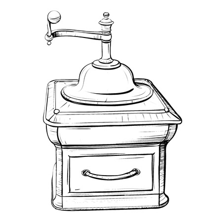 assignments: Vector illustration of retro coffee grinder in the thumbnail style on a white background Illustration