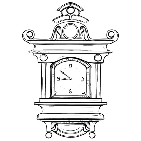 thumbnail: Vector illustration of a mechanical watch made in retro-style thumbnail on a white background