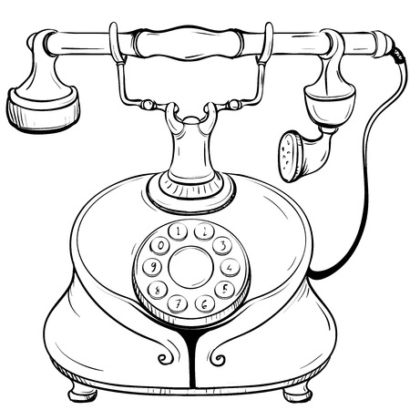thumbnail: Vector illustration of disk desktop phone executed in a retro style thumbnail on a white background