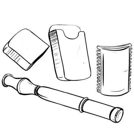 thumbnail: Vector illustration of retro safe shaving machine made in thumbnail style on a white background Illustration