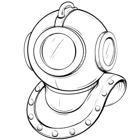 thumbnail: Vector illustration retro diving helmet made in thumbnail style on a white background