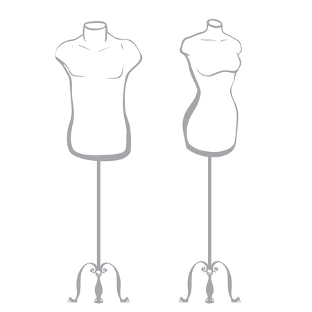 thumbnail: Male and female mannequin made in thumbnail style on a white background