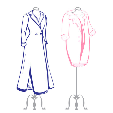 thumbnail: Short and long coat female mannequins dressed in the made in thumbnail style on a white background