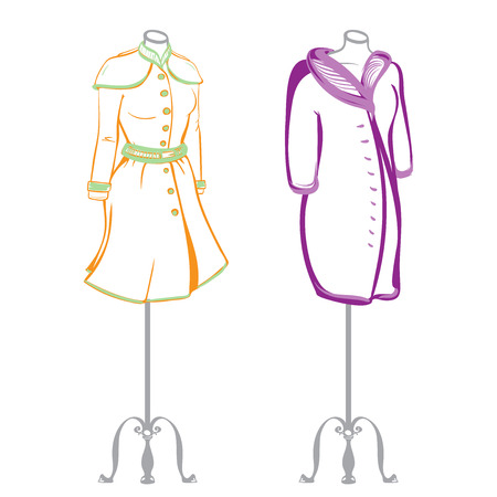 vintage fashion: Short womens coat wearing on mannequins made in thumbnail style on a white background