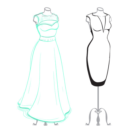 thumbnail: Short and long womens dresses on mannequins dressed, made in thumbnail style on a white background