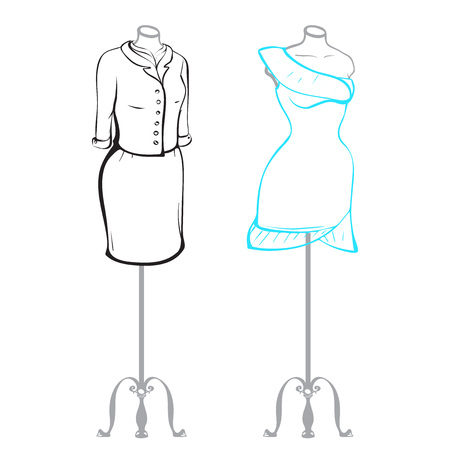 thumbnail: Business suit and wearing womens clothes on mannequins made in thumbnail style on a white background