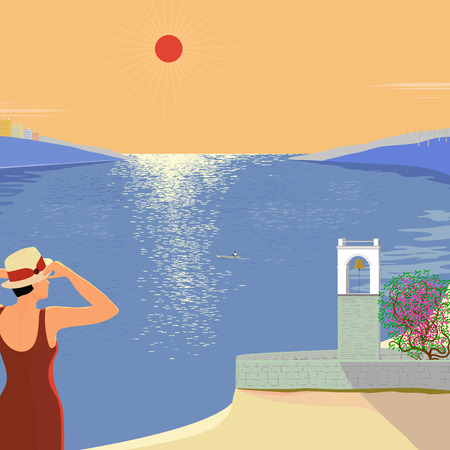 apartment bell: Vector illustration of a hot day at the seaside with a view of the bell tower and the bay Illustration