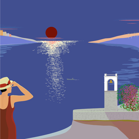 apartment bell: Vector illustration of a hot night on the coast with a view of the bell tower and the bay