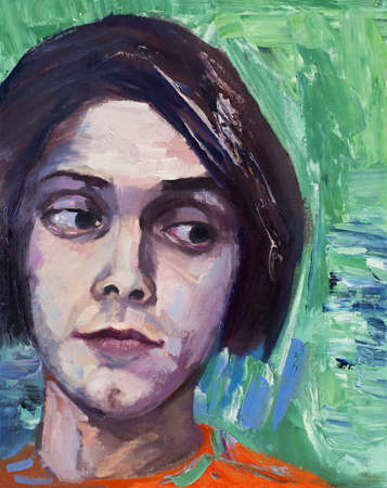 boy long hair: Painting, portrait of young man with long hair made with oil and palette knife Stock Photo