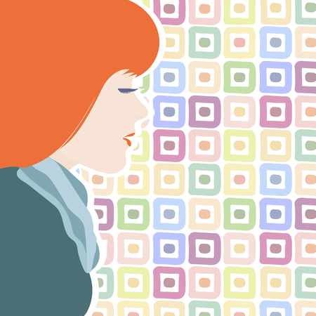 Vector illustration of a young girl in profile