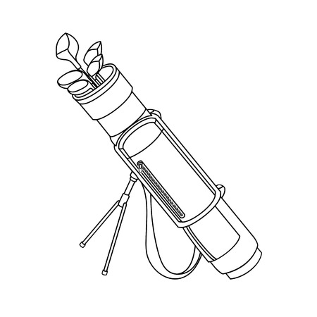 Vector black and white illustration of a golf bag with clubs