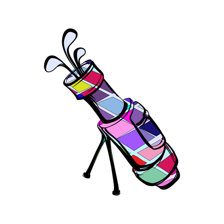 Vector illustration of colored motley golf bags. Illustration