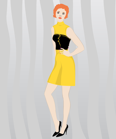 Graceful red-haired girl in a party dress Illustration