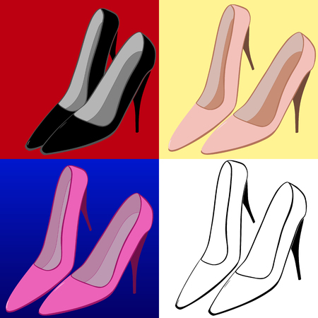 Illustration set of female high-heeled shoes.