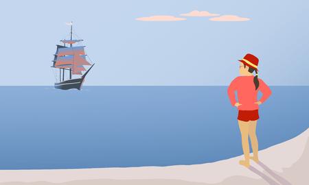 Girl and scarlet sails. Illustration