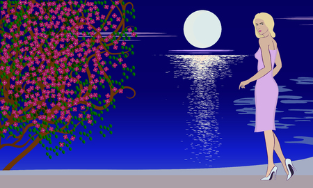 A Vector illustration of a girl in full growth on a background of a sea evening.