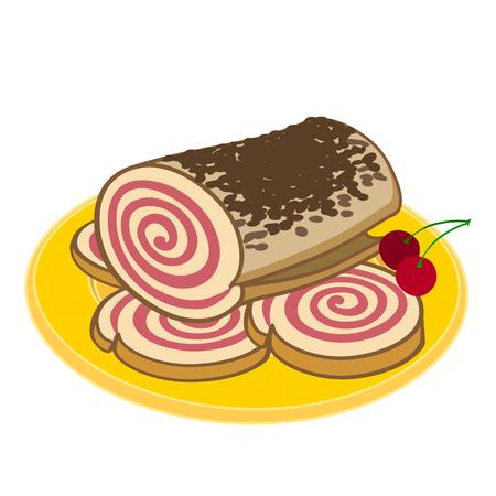 Illustration of a dumplings roll on a yellow platter