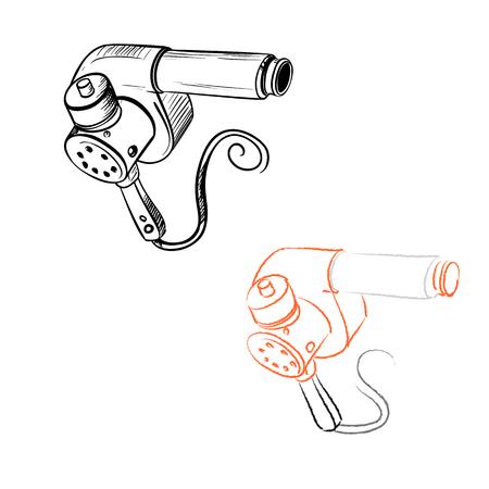 Retro hair dryer drawn in the thumbnail style Vector illustration. Illustration