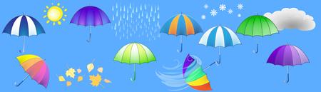 Fashionable umbrellas and weather symbols on a horizontal background. Illustration