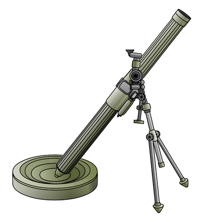 Army mortar in camouflage green color on a white background