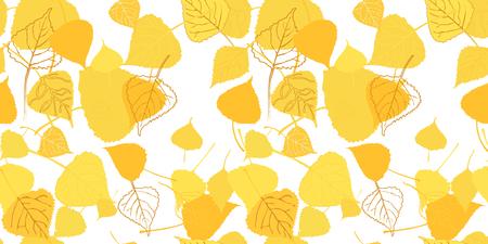 Golden autumn foliage seamless pattern on white background