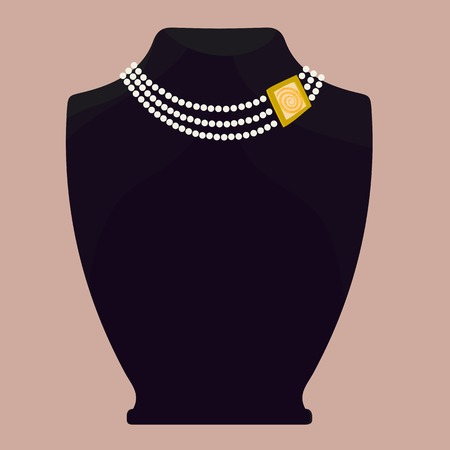 Fashionable necklace - pearl and gold. Exposed on a black mannequin on a colored background. Illustration