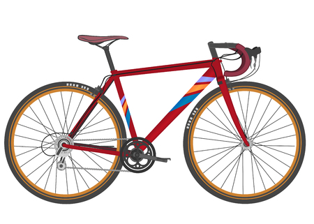 Sport racing road bike in red color on white background