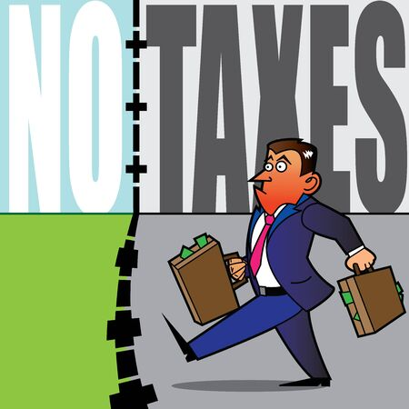 A business man fed up with taxation is crossing the border with suitcases full of money