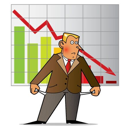 A businessman standing in front of a chart that shows decline in finance Foto de archivo - 133721849