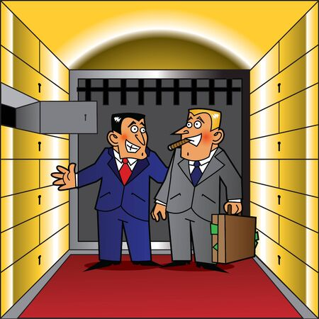 Two men standing in a safe room in a bank. One of them is showing an open safe deposit box. The other looks pleased to put his money in it.