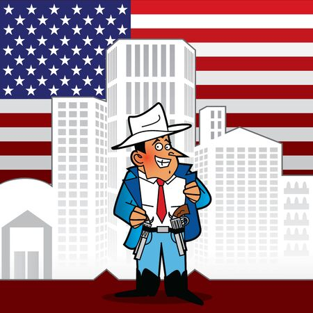 A man in a cowboy hat proudly showing his guns. Buildings and american flag at the background