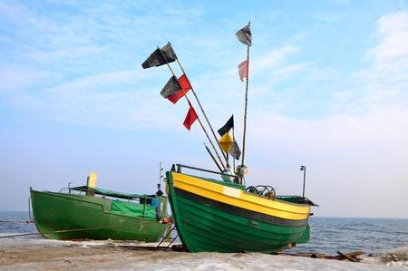 antigua, verde, pesca, barcos, Foto de archivo - 9624125