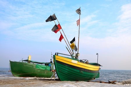 old, green, fishing, boats, Stock Photo