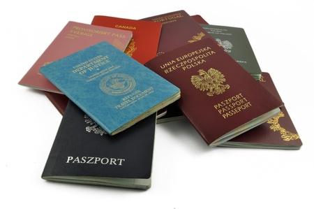 pasaportes: diferentes, viajes, documentos, aislaron, Foto de archivo