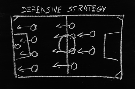 defensive: defensive strategy on chalkboard