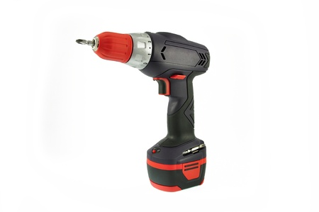 tool chuck: hand drill over white background Stock Photo