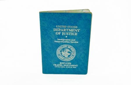 consulate: US refugee travel document Stock Photo