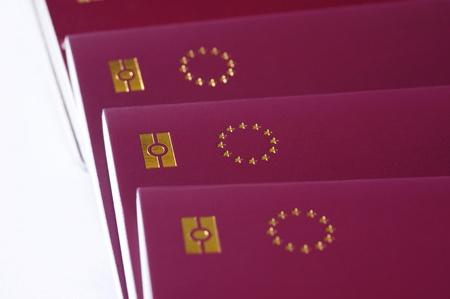 countries of European Union passports, identification biometric passport, EU stars on a white background photo