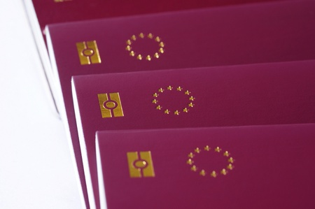 countries of European Union passports, identification biometric passport, EU stars on a white background