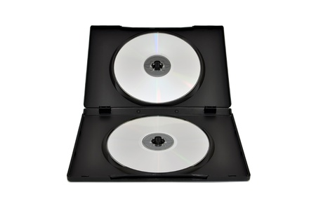 compact: CDs, DVDs in a double box isolated on a white background Stock Photo