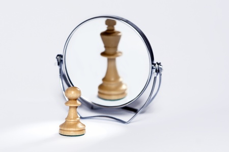 reflection in mirror: chess pawn, contrast, mirror reflection, chess king Stock Photo