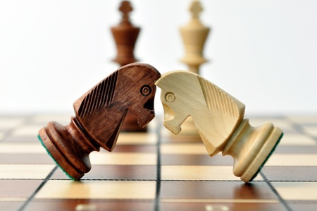 battle of chess jumpers, Kings look for the fight Stock Photo