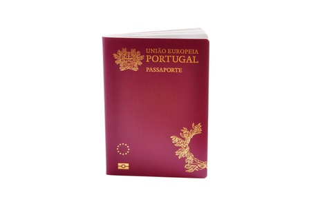 citizens: Portuguese biometric passport isolated on a white background