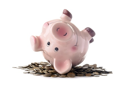 wallowing: piggy banks wallowing in coins on a white background