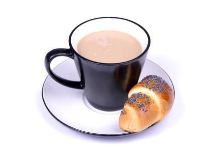 coffe with milk and croissant isolated on a white background photo