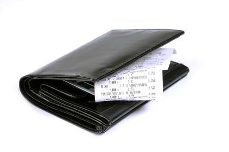 black leather wallet and bills of sale isolated on a white background Stock Photo - 11515366