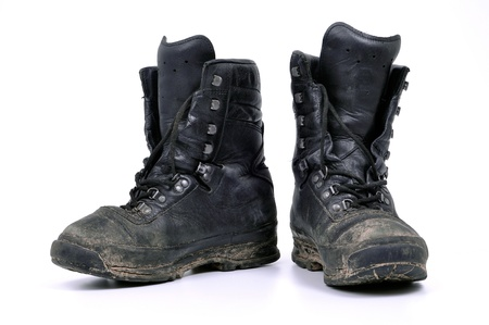used, dirty military boots from Polish army photo